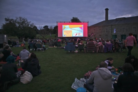 Stuart's photo of the open-air cinema at the Royal William Yard, about 7.30pm before the screening